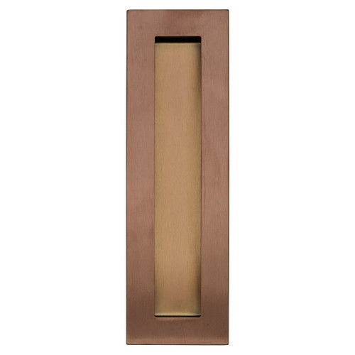 Brushed Copper 200mm flush door handle top