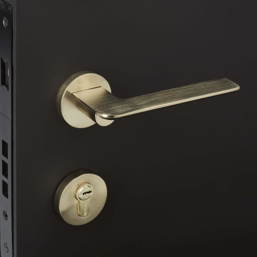 Brass entrance door handle Mucheln on black