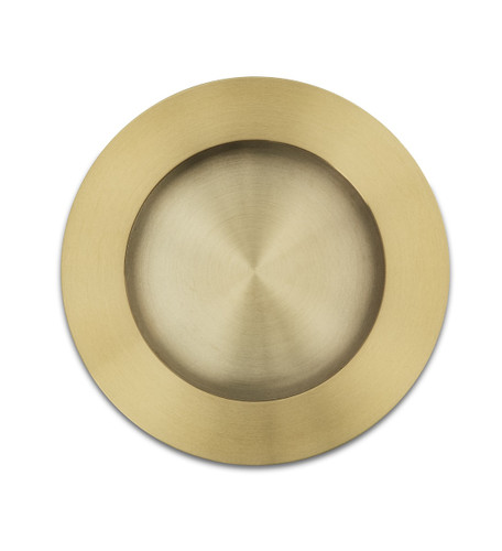 brass flush round cupboard handle side top