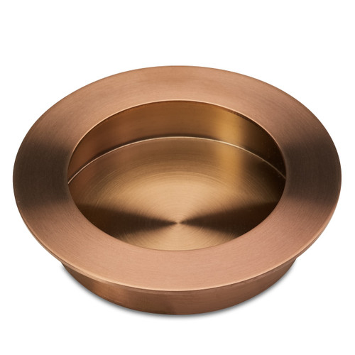Brushed Copper flush round cupboard handle side