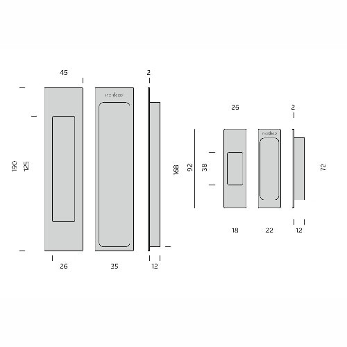 mardeco brass sliding door handle set dimensions