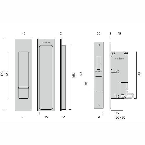 Mardeco brass sliding door flush pull set privacy dimensions