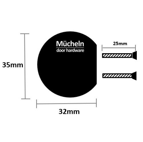 black  curve cupboard knob 35 dimensions