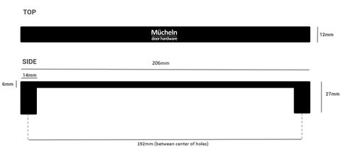 192mm matte black cupboard handles