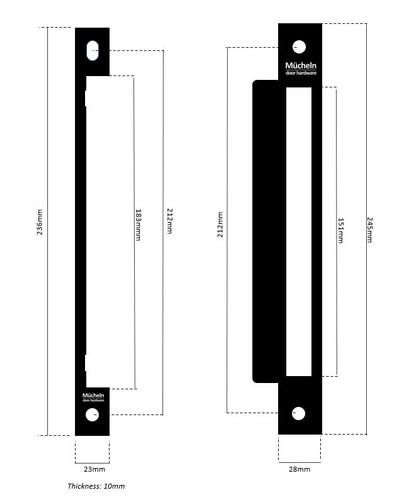 brass entrance rebate kit dimensions