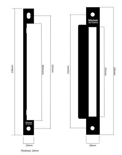Steel entrance rebate kit dimensions