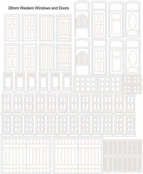 28mm Western Doors and Windows