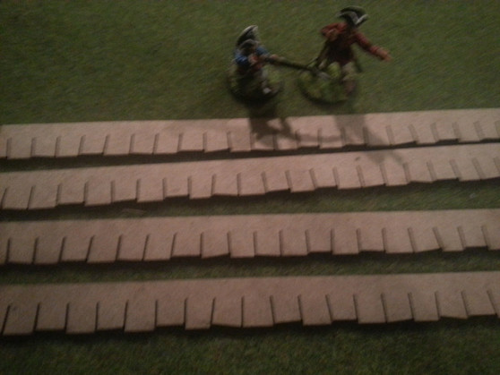 Roofing Strips are shown here with 28mm Scale figures.