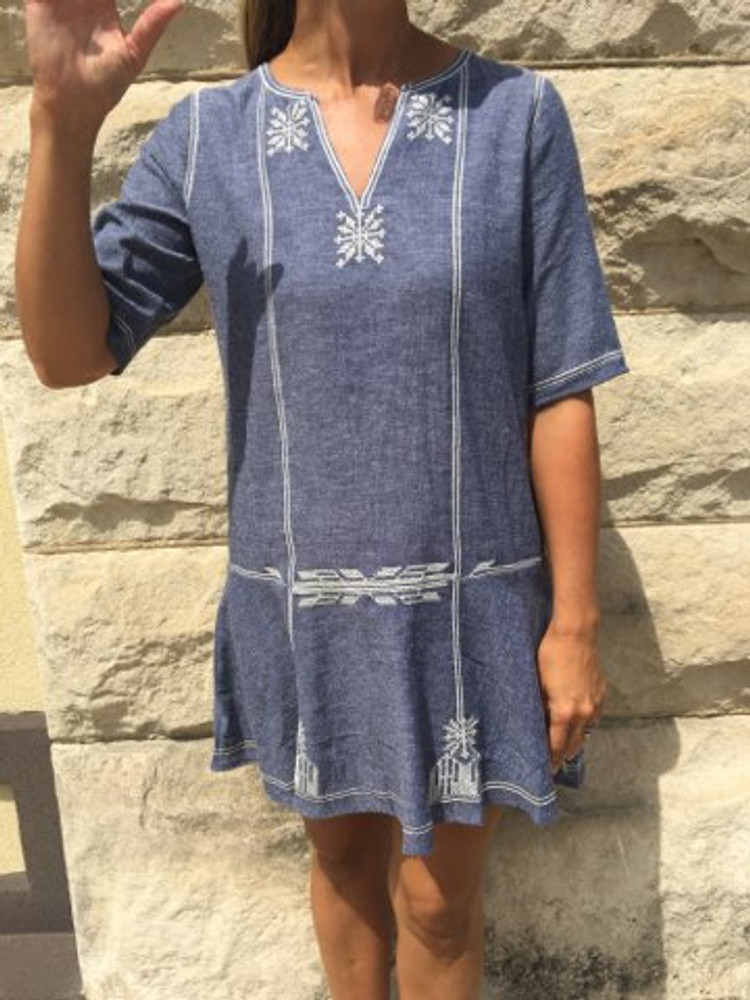 Denim Short Sleeve Embroidered Dress
