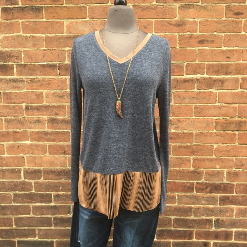 Navy and Beige Sheer Contrast Top