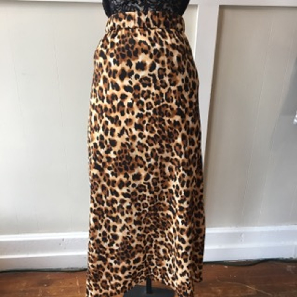 Leopard Side Button Skirt with Slit