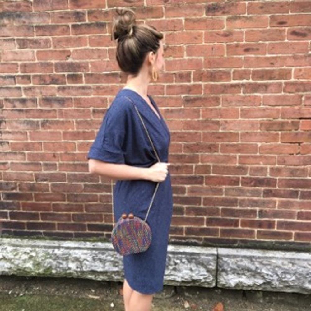 Navy Wrap Tshirt Dress with Rouching and Asymmetrical Skirt