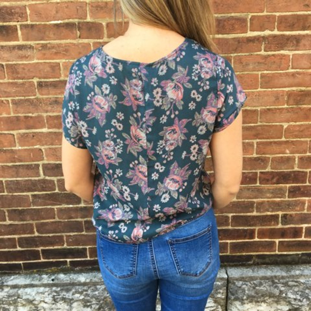 Dusty Blue Floral Print Tie Front Top
