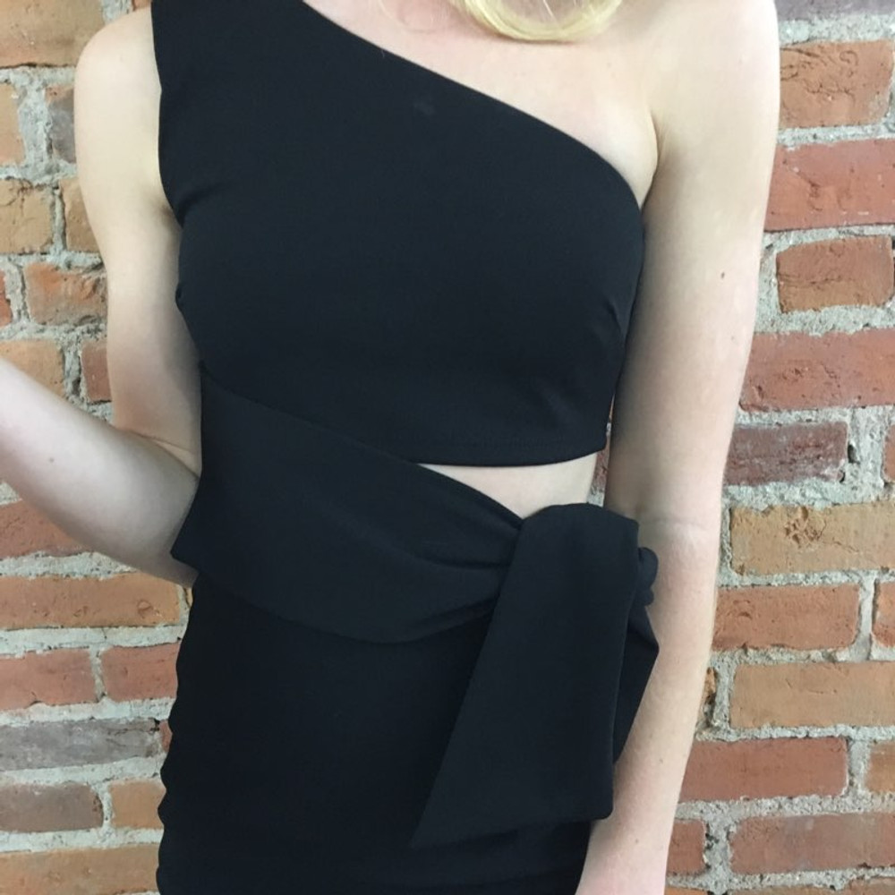 Black One Shoulder Fitted Dress with Waist Tie