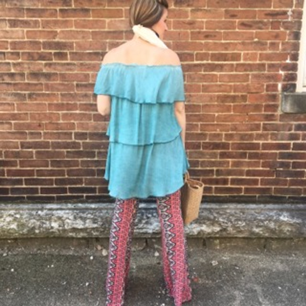 Peacock Off and On Shoulder Layered Ruffle Top
