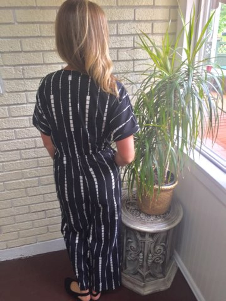 Black and White Pattern Button Down Jumpsuit