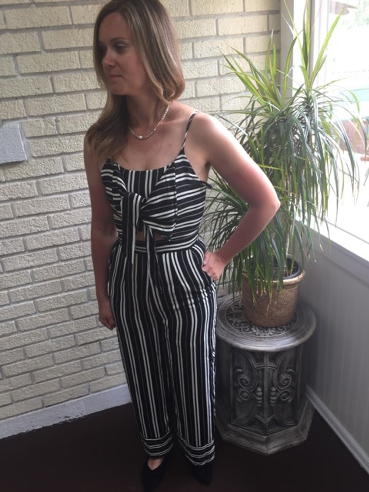 Cream and Black Striped Tie Front Jumpsuit