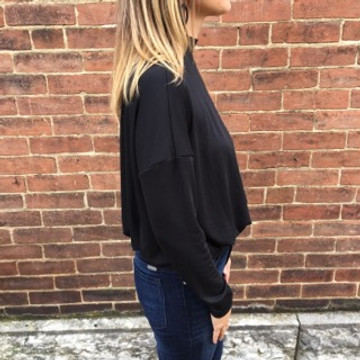 Black Open Back Turtleneck Top