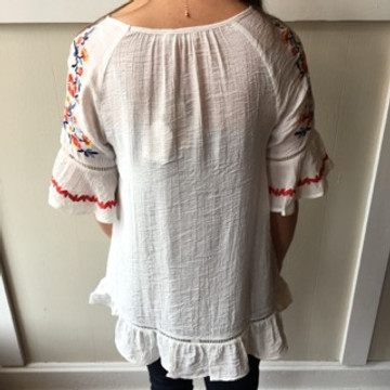 Off White Floral Embroidered Top