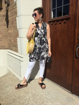 Black Printed Palm Tunic with Ruffle Details