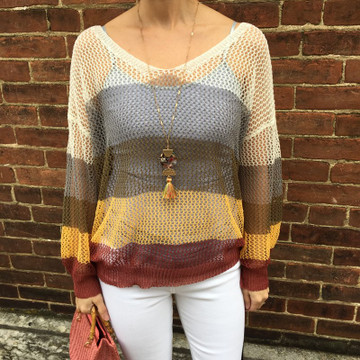 Yellow/Multi Color Striped Mesh Sweater