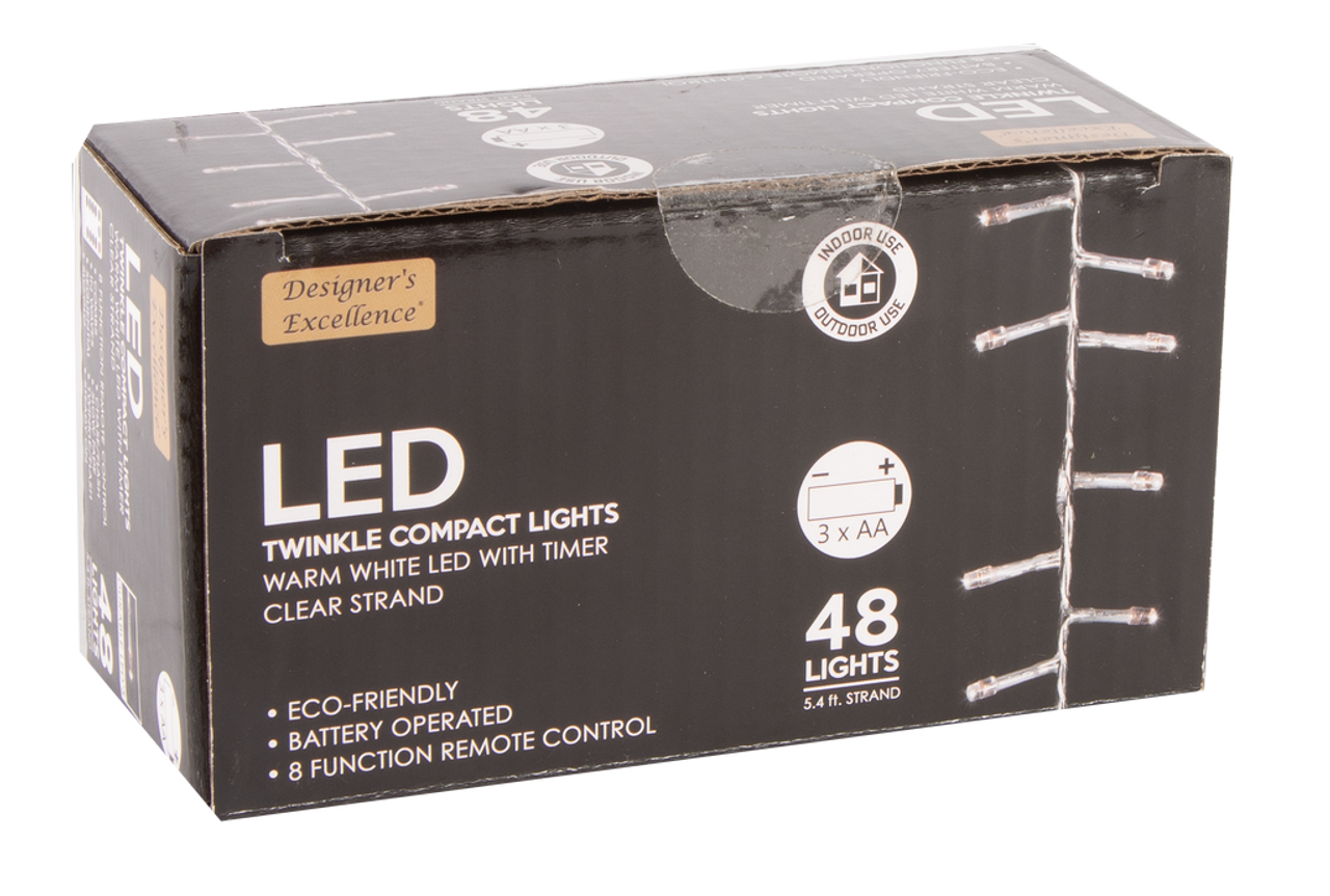 65 Designers Excellence 48 Led Twinkle Lights With Timerremote Battery Operated Clear Wire