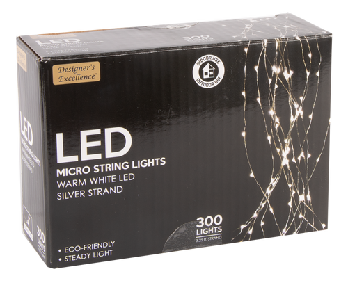 "39"" Designers Excellence 300 Micro LED Silver Wire Light Cascade"