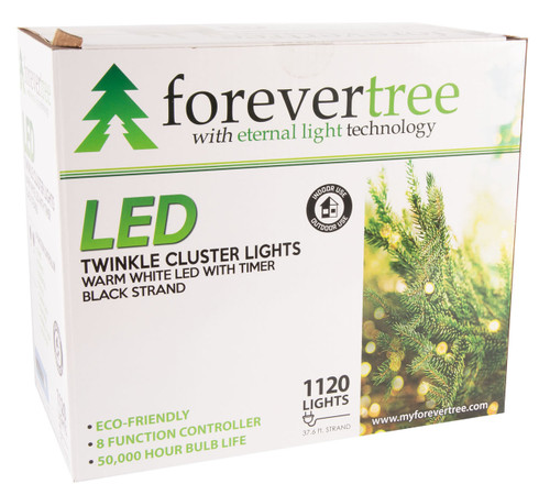 37.67' ForeverTree 1120 LED Twinkle Cluster Warm White Lights with Black Wire