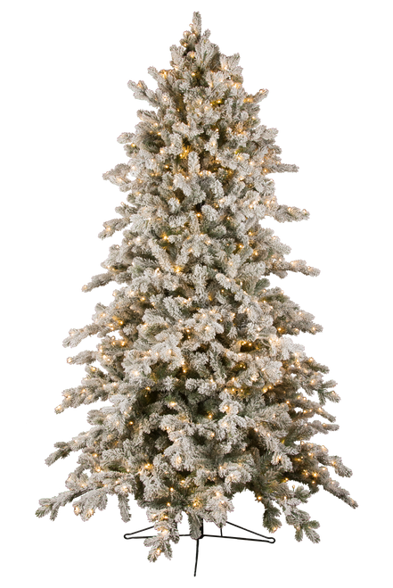 7.5' ForeverTree Deluxe Downswept Slim Snowy Douglas Fir EasyLite Tree with Remote