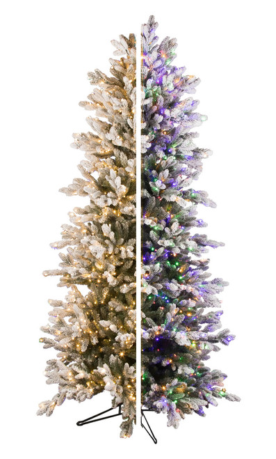 7.5' ForeverTree Slim Snowy Nordic Fir EasyLite Color Changing with Remote