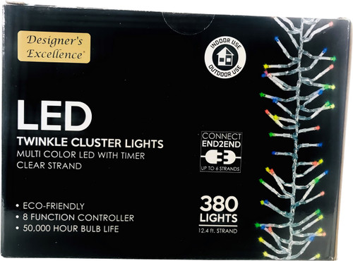 LED Twinkle Cluster Lights 12.4Ft Multi w/ Clear Strand Connect End to End