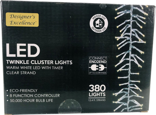 LED Twinkle Cluster Lights 12.4Ft Warm White w/ Clear Strand Connect End to End