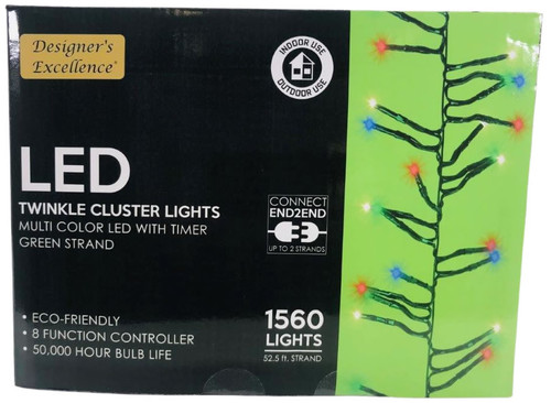 LED Twinkle Cluster Lights 52.5Ft Multi w/ Green Strand Connect End to End