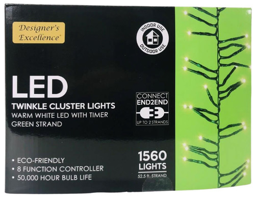 LED Twinkle Cluster Lights 52.5Ft Warm White w/ Green Strand Connect End to End