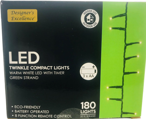 LED Twinkle Compact Lights 20Ft Warm White w Green Strand Battery Operated 8 Function Remote Control