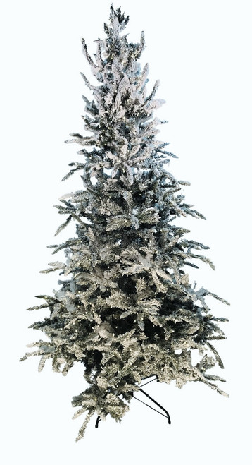 7.5' ForeverTree Flocked Balsam Fir Prelit Artificial Christmas Tree with 8 Function Remote