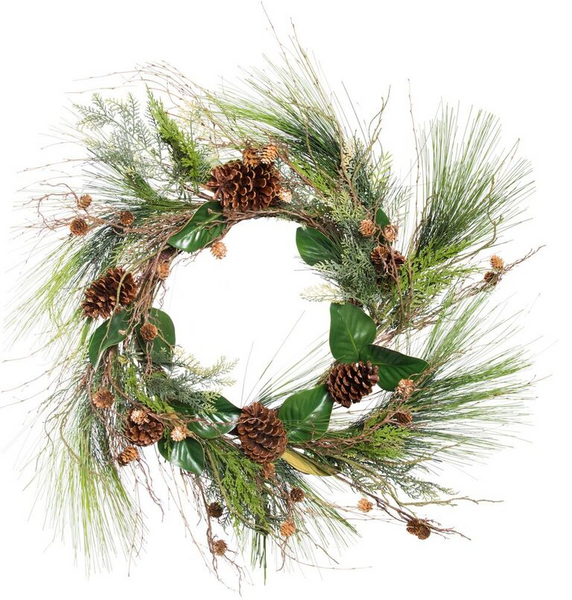 """36"""" Long Needle Pine Wreath with Magnolia Leaves"""