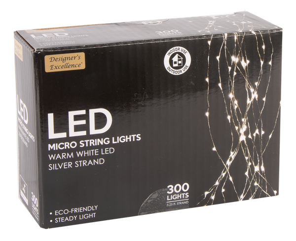 """39"""" Designers Excellence 300 Micro LED Silver Wire Light Cascade"""