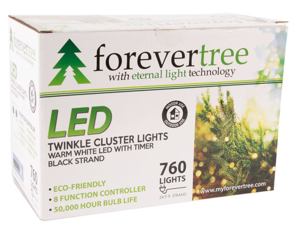24.9' ForeverTree 760 LED Twinkle Cluster Warm White Lights with Black Wire