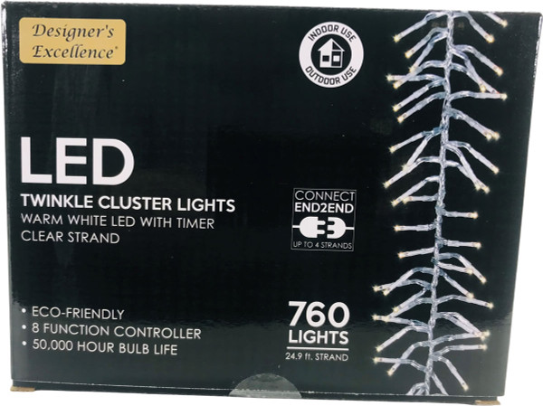 LED Twinkle Cluster Lights 24.9Ft Warm White w/ Clear Strand Connect End to End