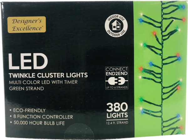 LED Twinkle Cluster Lights 12.4Ft Multi w/ Green Strand Connect End to End