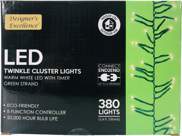 LED Twinkle Cluster Lights 12.4Ft Warm White w/ Green Strand Connect End to End
