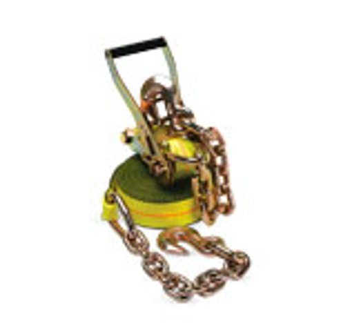 4' x 30' Strap & Ratchet w/ Chain & Hook