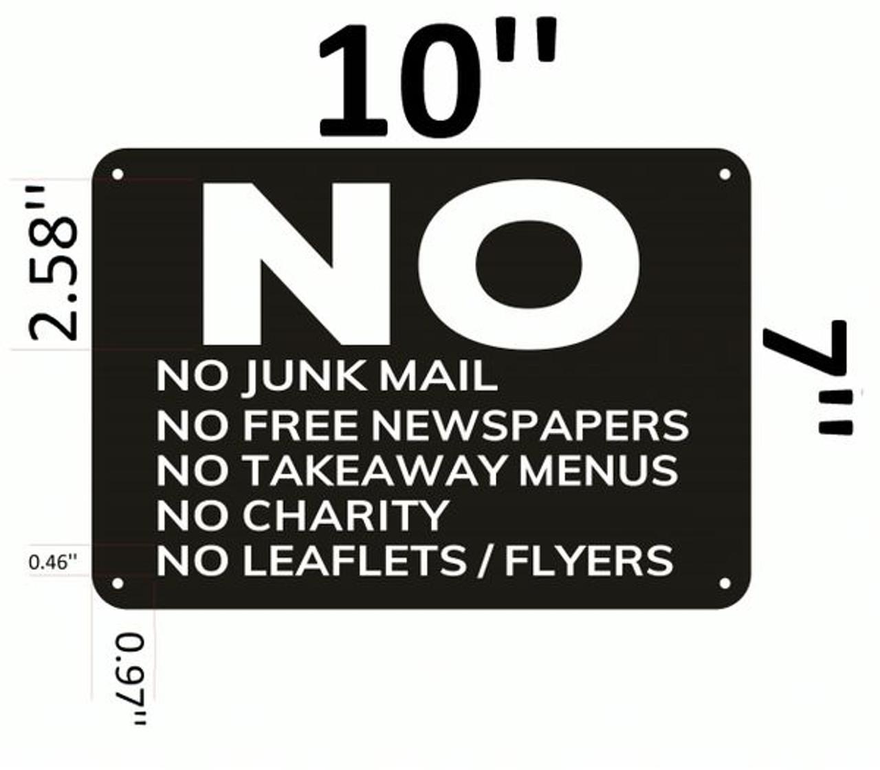 DOOR SIGN NO JUNK MAIL Sign Brushed Aluminium self adhensive sticker