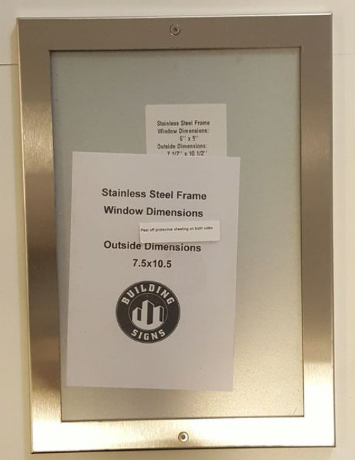 ELEVATOR CERTIFICATE FRAME STAINLESS STEEL (CERTIFICATE FRAMES 6x9)