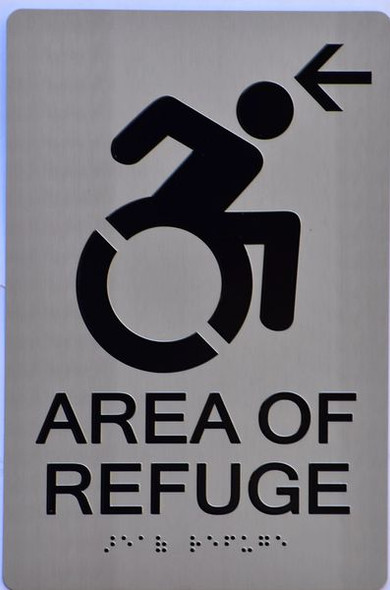 AREA OF REFUGE LEFT SIGN for Building