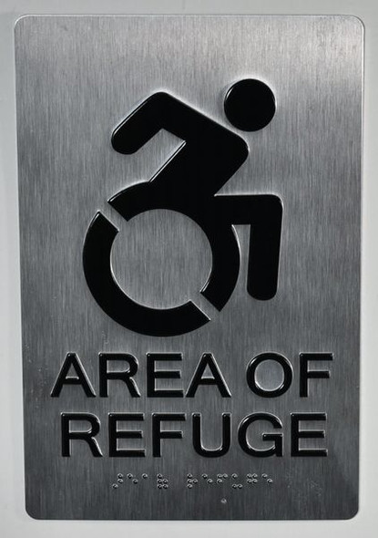 SILVER AREA OF REFUGE SIGNTactile Signs  - BRAILLE