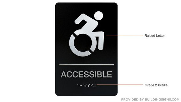 ACCESSIBLE Sign -Tactile Signs  -The sensation line  Braille sign