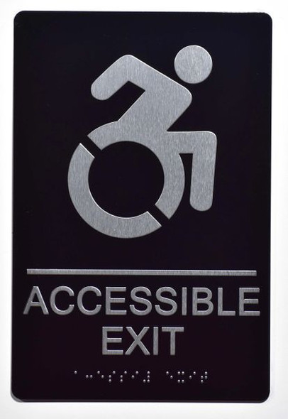ACCESSIBLE EXIT Sign -Tactile Signs Tactile Signs  (ALUMINUM SIGNS)-The sensation line Ada sign