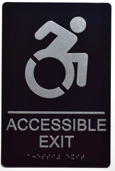 ACCESSIBLE EXIT Sign -Tactile Signs Tactile Signs  (ALUMINUM SIGNS)-The sensation line  Braille sign